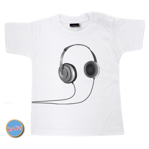 Baby T Shirt Headphone Zwart