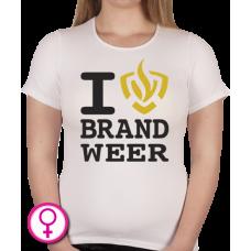 Dames T-shirt I love Brandweer
