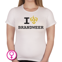 Dames T-shirt I love Brandweer (voluit geschreven)