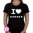 Dames T-shirt I love ... (Zelf invullen)