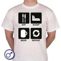 Heren T-shirt Eat sleep beer repeat