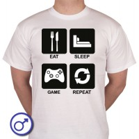 Heren T-shirt Eat sleep game repeat