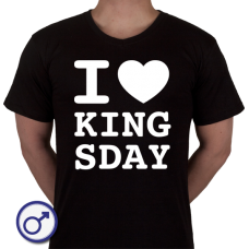 Heren T-shirt I love Kingsday