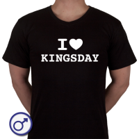 Heren T-shirt I love Kingsday (voluit geschreven)