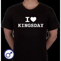 Heren T-shirt I love Kingsday (voluit geschreven)