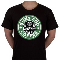 "No 23. Amerika Import Tshirt ""Guns and Coffee"""